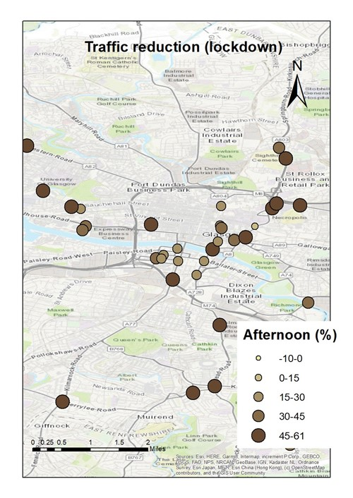 Map showing the traffic reduction in different areas of the city in the Afternoon period
