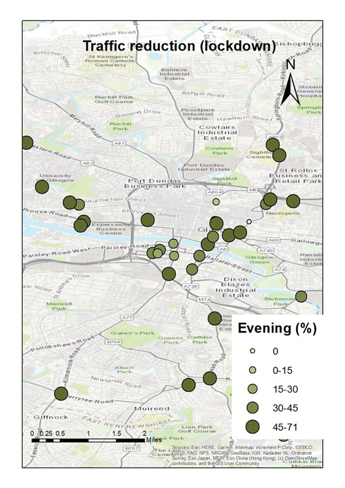Map showing the traffic reduction in different areas of the city in the Evening period